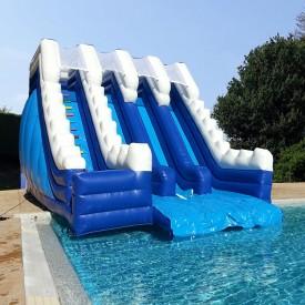 Toboggan Gonflable Aquatique 3 pistes pour piscine