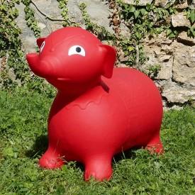 Éléphant Gonflable Rouge - Animal Sauteur Rebondissant