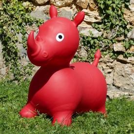 Rhinocéros Gonflable Rouge - Animal Sauteur Rebondissant