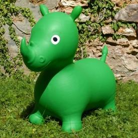 Rhinocéros Gonflable Vert - Animal Sauteur Rebondissant
