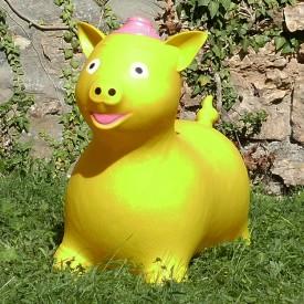 Cochon Gonflable jaune - Animal Sauteur Rebondissant